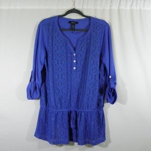 Blue Style & Co Lace-Front Top
